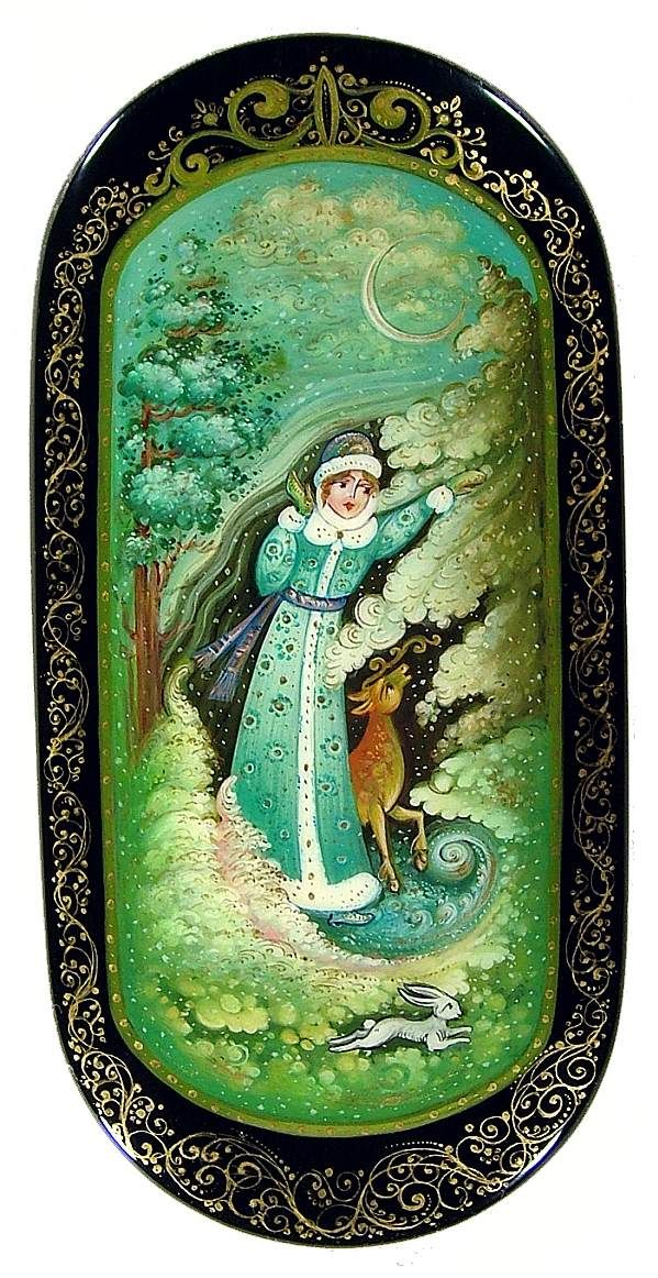 Russian lacquer miniature from the village of Mstyora. The Snow Maiden with her friends.