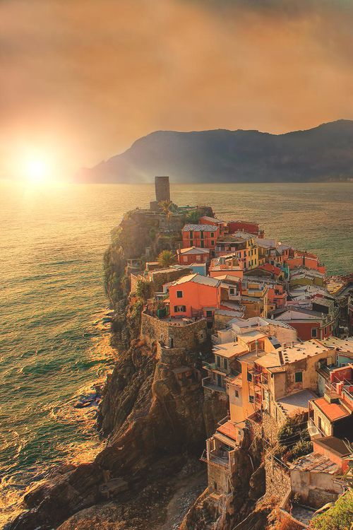 Favorite place in Italy...maybe Europe. Cinque Terre, Italy. I've been to the top of that tower!