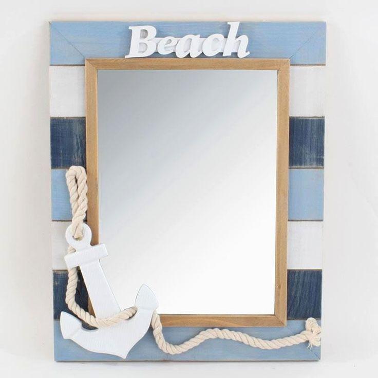 Καθρέπτης ξύλινος (mdf) με μπλε και γαλάζιες ρίγες, για το σπίτι αλλά και για το εξοχικό.