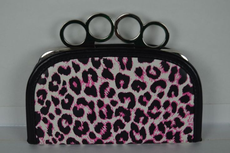 Ladies knuckle clutch purse black pink leopard print 7 x 5 FREE SHIPPING Brass #knucklepurse #Clutch