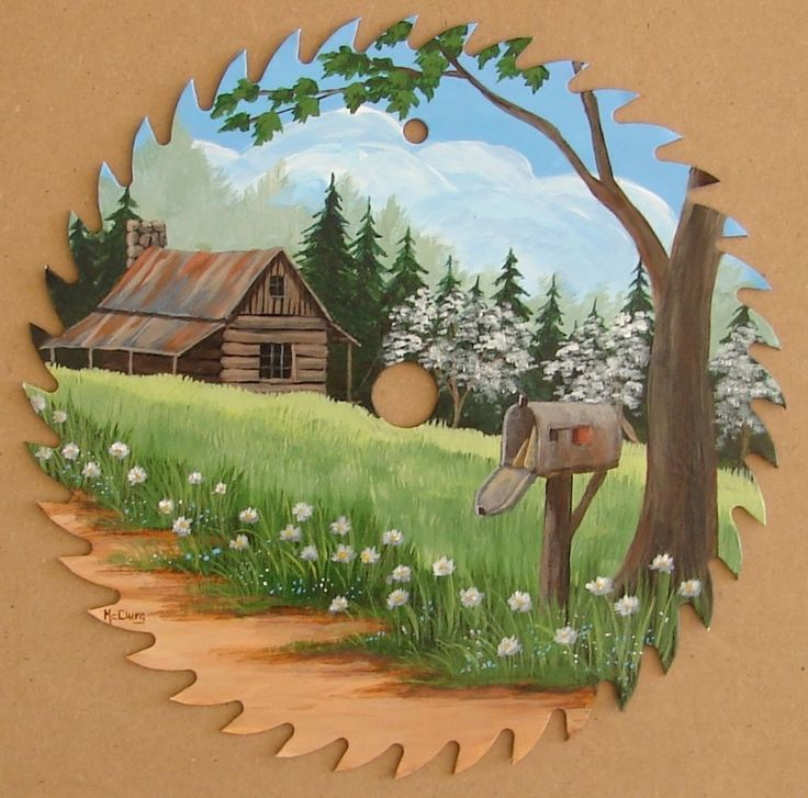 Hand Painted Saw Blade Mail Box Cabin Decor Country Americana Folk Art Original in Art, Direct from the Artist, Paintings | eBay