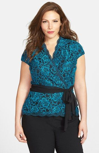 Alex Evenings Cap Sleeve Surplice Neckline Lace Blouse with Tie Belt (Plus Size) available at #Nordstrom