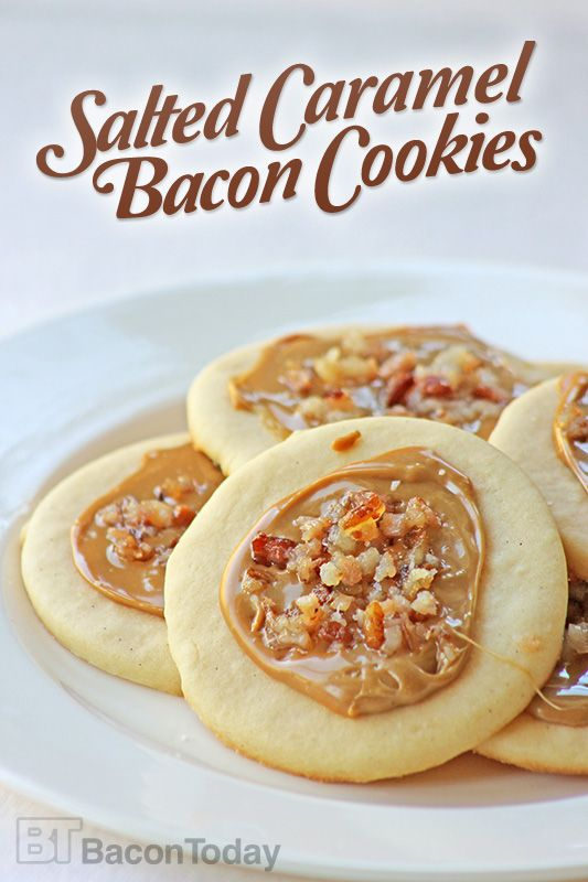 These Salted Caramel Bacon Cookies are made with smoky bacon and topped with salty caramel for the ultimate salty-sweet treat.