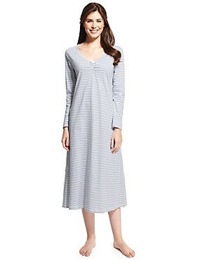 Grey Mix Pure Cotton Striped Long Nightdress with Cool Comfort™ Technology