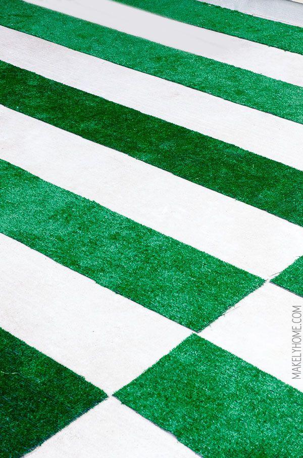 Charming DIY Astroturf Grass Striped Patio Rug Good Ideas