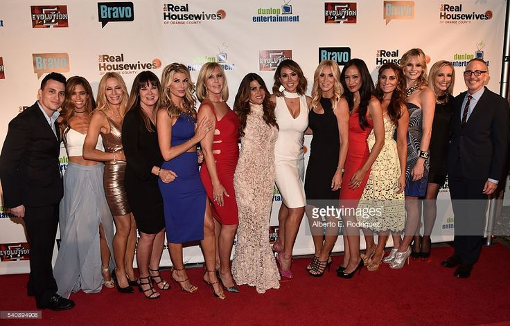 Executive producer Alex Baskin, TV personalities Lydia McLaughlin, Peggy Tanous, Jeana Keough, Alexis Bellino, Vicki Gunvalson, Lynne Curtin, Kelly Dodd, Lauri Peterson, Jo De La Rosa, Lizzie Rovsek, Meghan King Edmonds, Shannon Beador and executive producer Douglas Ross attend the premiere party for Bravo's 'The Real Housewives of Orange County' 10 year celebration at Boulevard3 on June 16, 2016 in Hollywood, California.