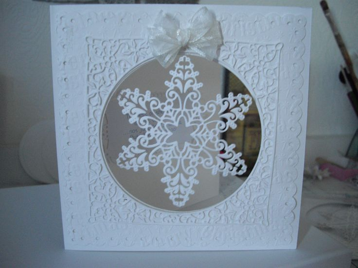 All white Christmas card made with Tattered Lace Krystal snowflake.