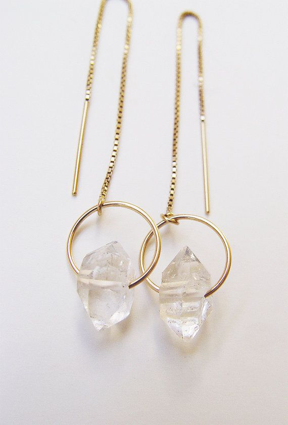 Featuring a pair beautiful natural herkimer diamond mineral gemstones which were handcrafted into 14k gold filled chain earrings. The stone has a