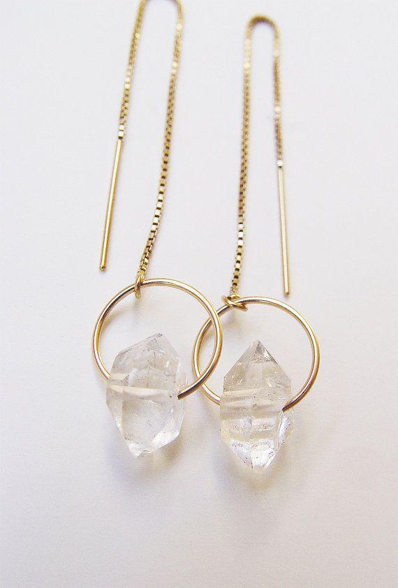 Herkimer Diamond Gold Chain Earrings by friedasophie on Etsy