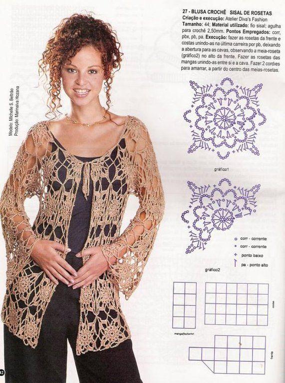 Blusas tejidas a crochet patrones gratis - Imagui   moda ...