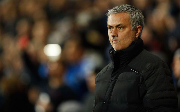 Scarica sfondi Jose Mourinho, allenatore di Calcio, ritratto, Manchester United, Premier League, liga