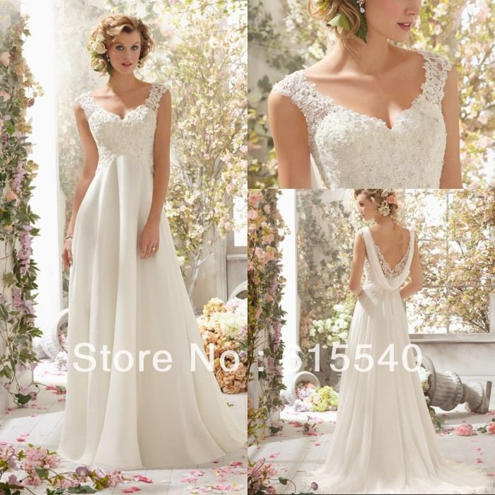 Empire Waist A Line V-neck White Chiffon Lace Top Beach Wedding Dresses Low Back Reception Prom Formal Long Dresses
