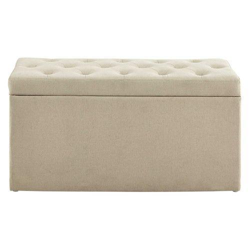 Coffre banc + 2 poufs en coton beige L 79 cm MARCEAU