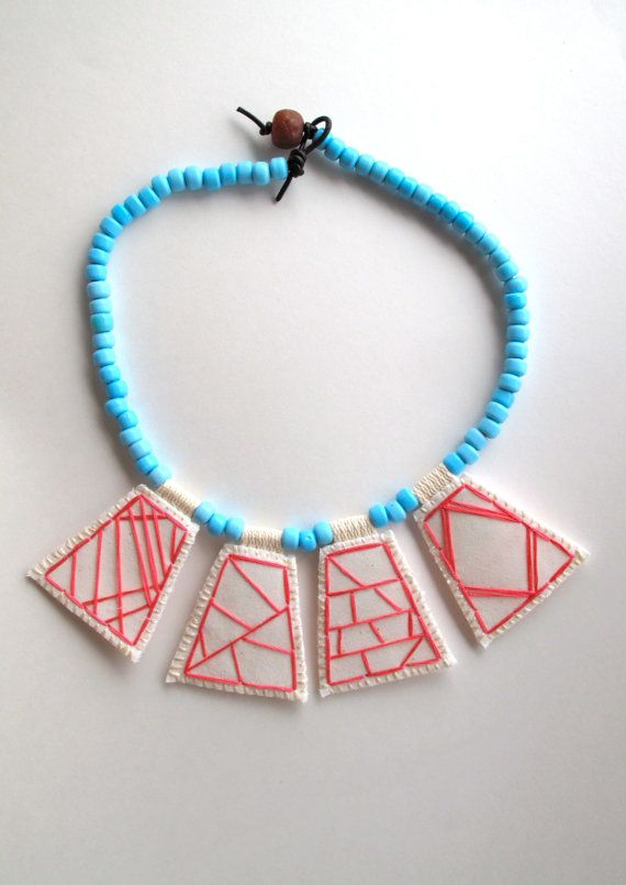 Geometric embroidered necklace hot pink by AnAstridEndeavor #statementnecklace
