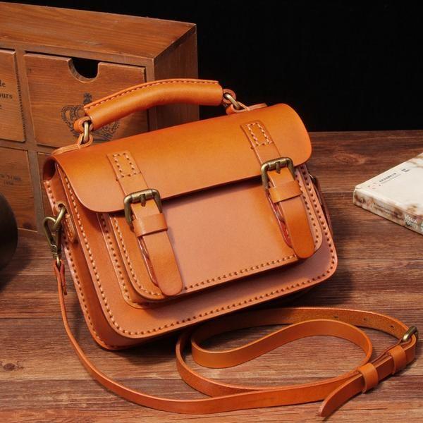 Handcrafted Leather Messenger Women's Fashion Bag Handbag Leather Shoulder Bag 14084 - LISABAG - 1