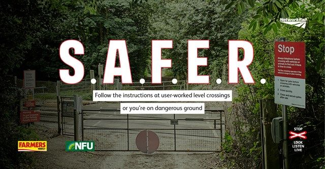 New level crossing campaign to keep farmers S.A.F.E.R this harvest season http://www.cumbriacrack.com/wp-content/uploads/2017/09/level-cross-nfu-farmers-safe.jpg Network Rail is teaming up with the National Farmers' Union to remind farmers to stay safe at level crossings and combat a rise in incidents during harvest    http://www.cumbriacrack.com/2017/09/06/new-level-crossing-campaign-keep-farmers-s-f-e-r-harvest-season/