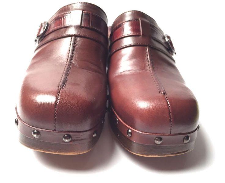 Via Spiga leather Retro Vintage  Wood Heel Clogs Mules sz 7  | eBay