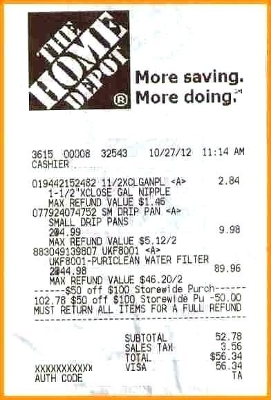 15+ home depot receipt template Application Letter