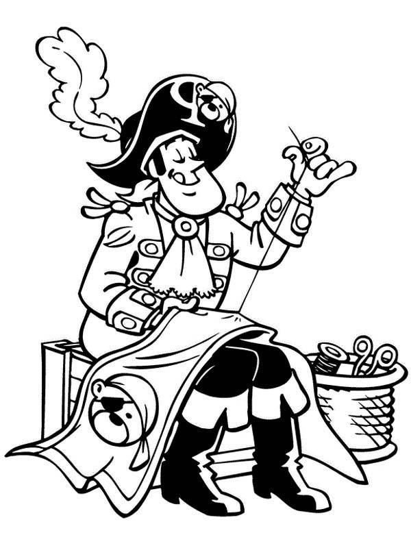Piet Pirate Sewing Up Pirate Flag Coloring Pages Flag Coloring