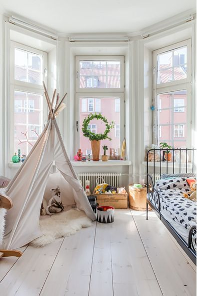 Kids room with a tent