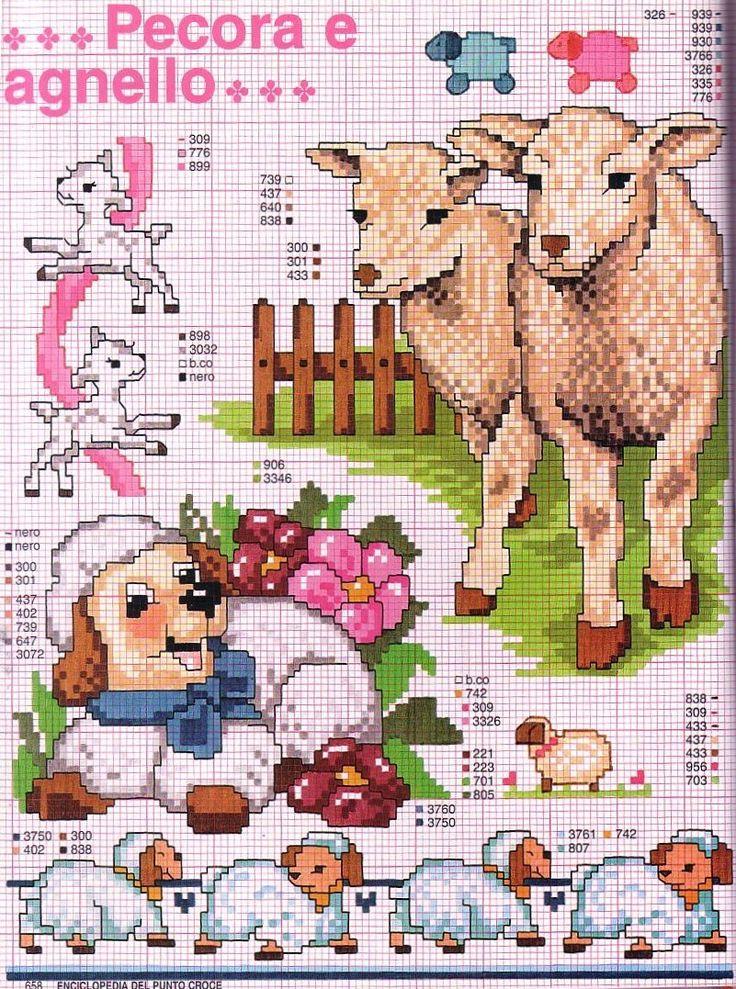 Schema punto croce Pecora agnello 2