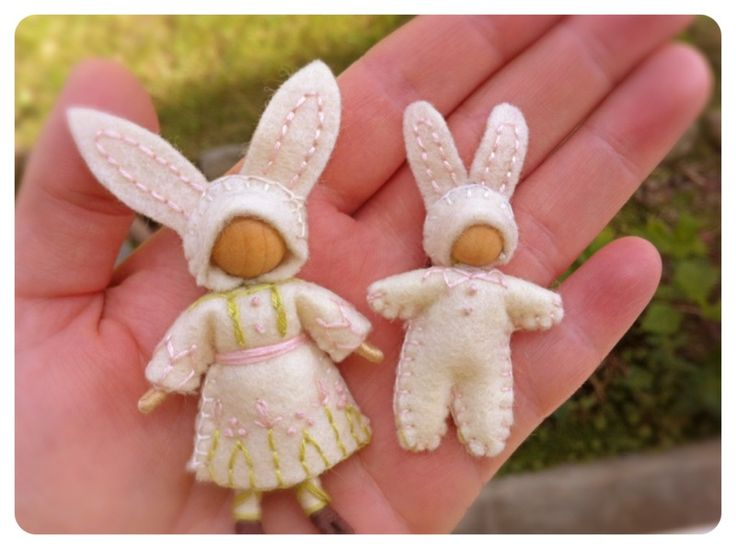 bunny girl and baby felt wee folk easter spring waldorf doll