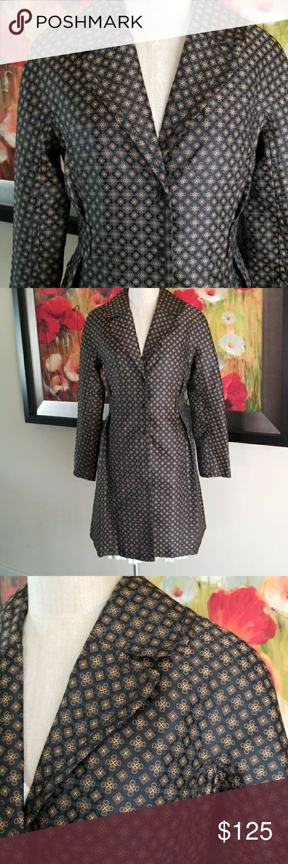 "Leon Max Patterned Raincoat, Sz. 8 New, with Tags, never worn. Sz. 8.  *Water resistant material keeps you dry and stylish *Pattern is a gorgeous mix of Black/Brown/Gold that shimmers in the light.  *2 front pockets *Flattering pleated waist  36.5"" long from shoulder to hem 23.5"" sleeve from shoulder to cuff  MSRP $398 Leon Max Jackets & Coats Trench Coats"