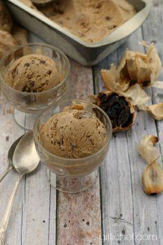 Black Garlic Chocolate Chunk Ice Cream #recipe #NationalGarlicDay | www.girlichef.com