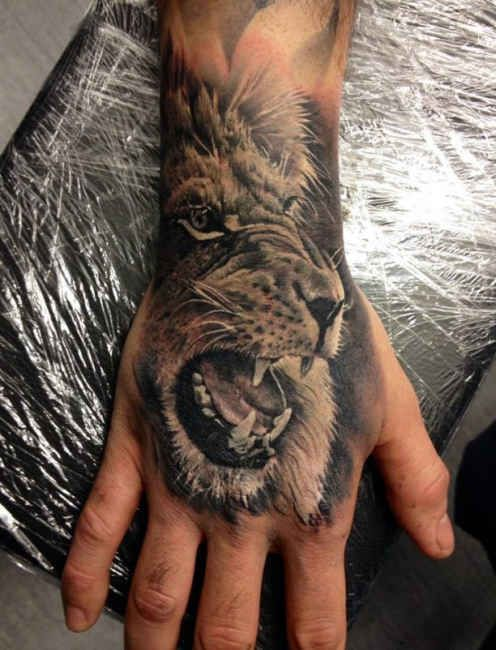 Lion head 3D Hand Tattoo  - http://tattootodesign.com/lion-head-3d-hand-tattoo/  |  #Tattoo, #Tattooed, #Tattoos
