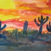 Waldorf ~ 6th grade ~ Geography ~ Biomes ~ Cactus ~ watercolor painting