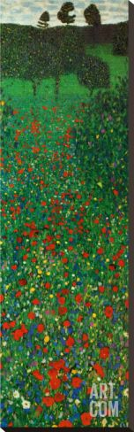 Field of Poppies Stretched Canvas Print by Gustav Klimt at Art.com