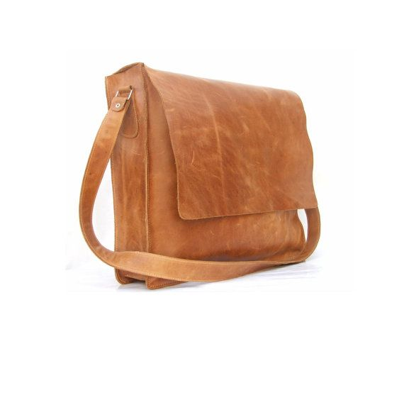 Messenger bag Mens Women Unisex Brown Leather Satchel by abizema, $69.99
