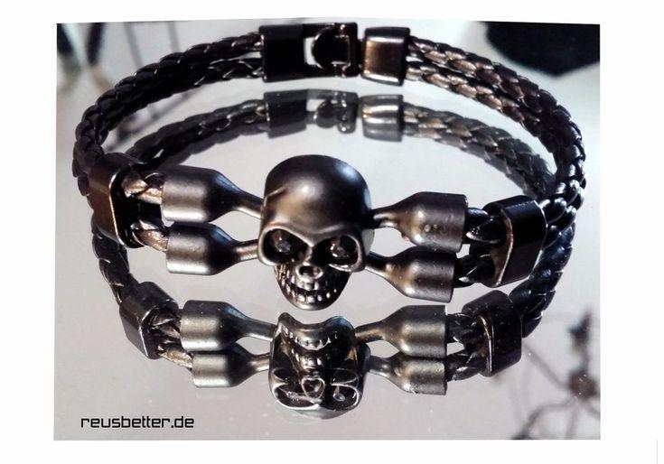 Armband   Edelstahl   Leder Mix   Skull / Totenkopf Bones   Schwarz