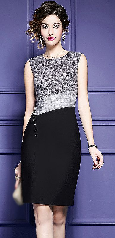 Brief Contrast Color Sleeveless Bodycon Dress