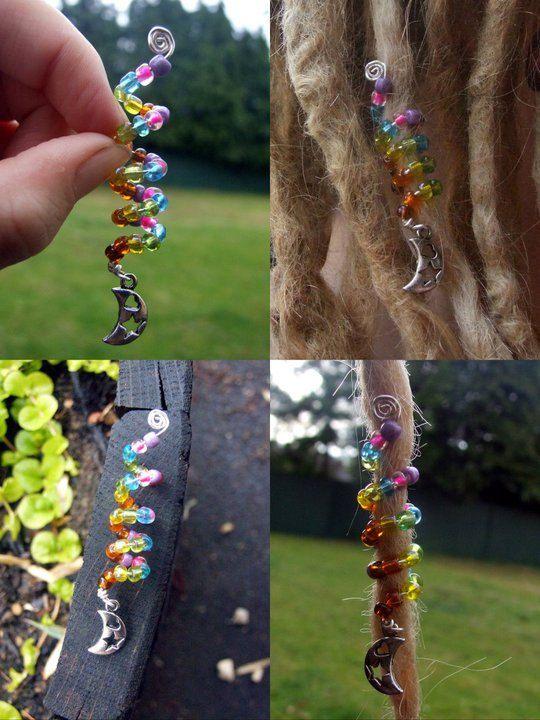 Beaded Dreadlock / Hair Coil, Custom Colours And Charm. $7.00, via Etsy.