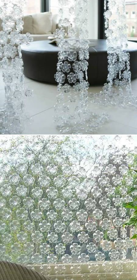 made out of plastic water bottles...to be hung to separate group areas from individual seating areas