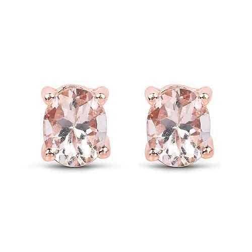 14K Rose Gold 1TCW Genuine Morganite .925 Sterling Silver Earrings