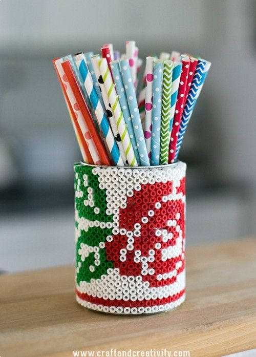 DIY Beaded Tin Can Pencil Holder | Shelterness