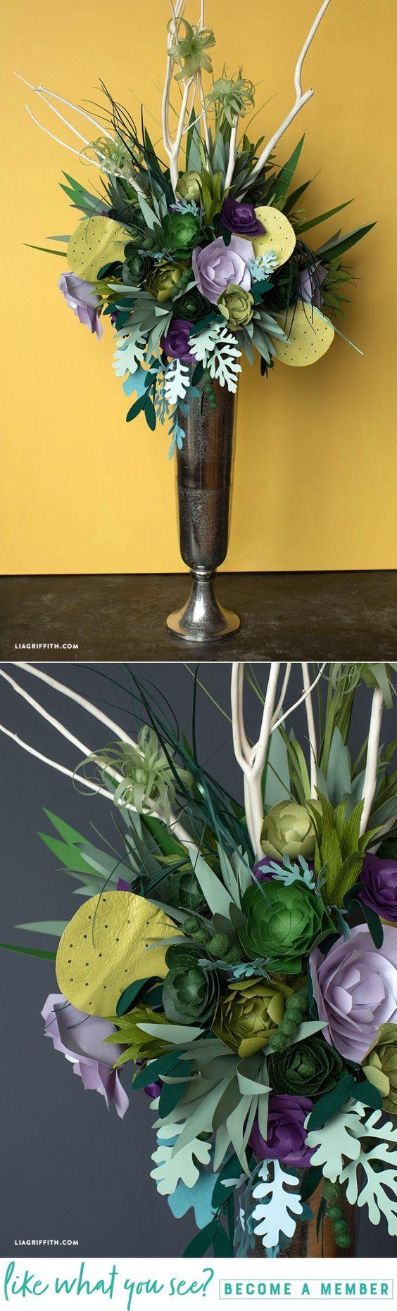 DIY Floral Bouquet - www.LiaGriffith.com - #diypaperflowers #paperflowers #paperflower #papersucculent #cricutmade #cricutmaker #officialcricut #Jumbopaperflower #giantpaperflower