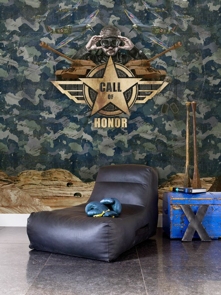 Green army/military digital photo wallpaper//fotobehang collection Lef - BN Wallcoverings