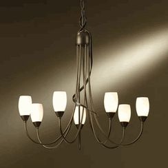 hubbardton forge flora burnished steel seven light chandelier with opal glass on sale