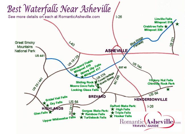 Western North Carolina Waterfall Map | New Waterfall Drives & Maps for Asheville & NC Mountains | Asheville ...