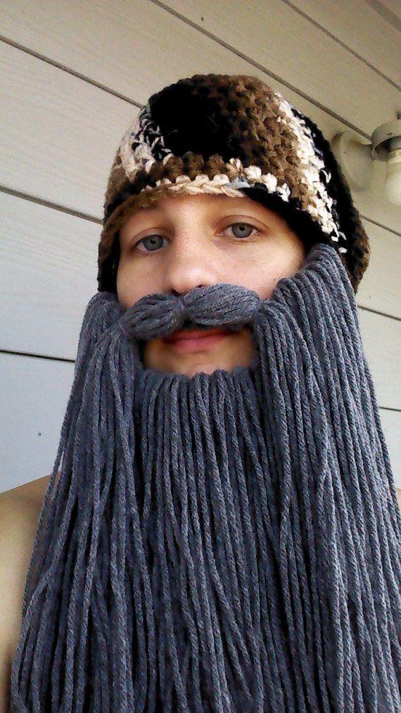 duck dynasty crochet beard pattern | KIDS SIZE Duck Dynasty Crochet Camouflage Beard Hat (Detachable Beard)