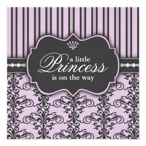 princess damask u0026 stripe black purple baby shower card