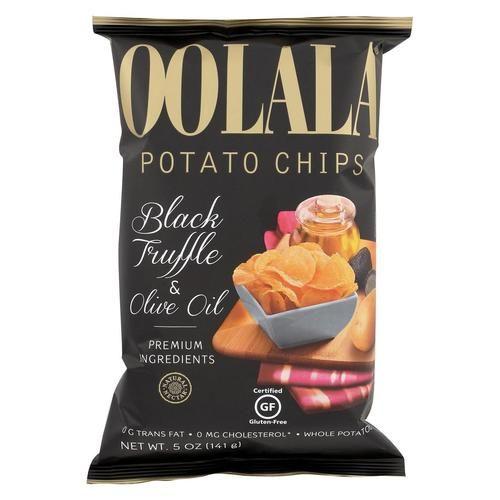 Oolala Potato Chips - Black Truffle And Olive Oil - Case Of 9 - 5 Oz.