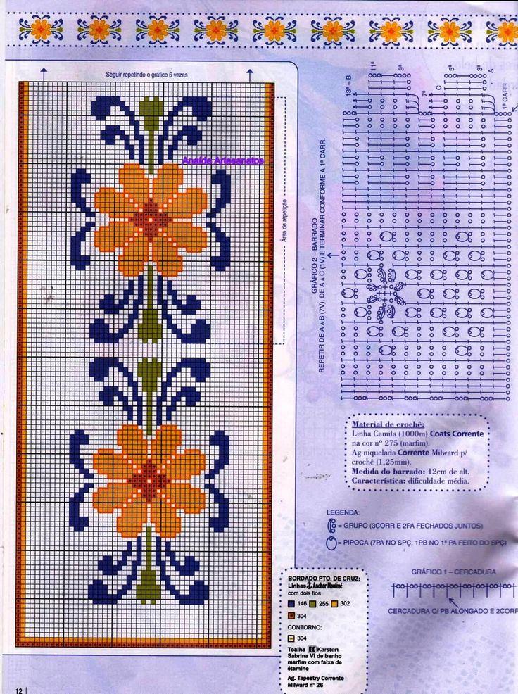 Anaide Ponto Cruz: Gráficos de ponto cruz para toalhas.                                                                                                                                                     Mais