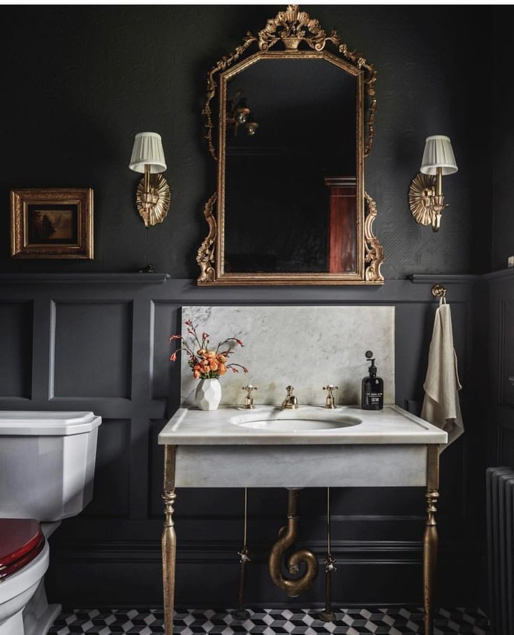 """Even the powder room needs to be fabulous 🖤 …"