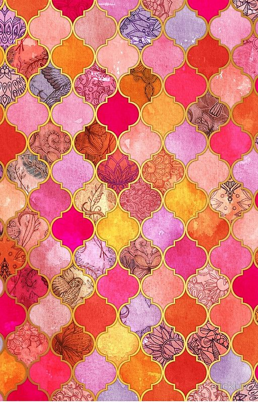 .Hot Pink, Gold, Tangerine & Taupe Decorative Moroccan Tile Pattern by micklyn
