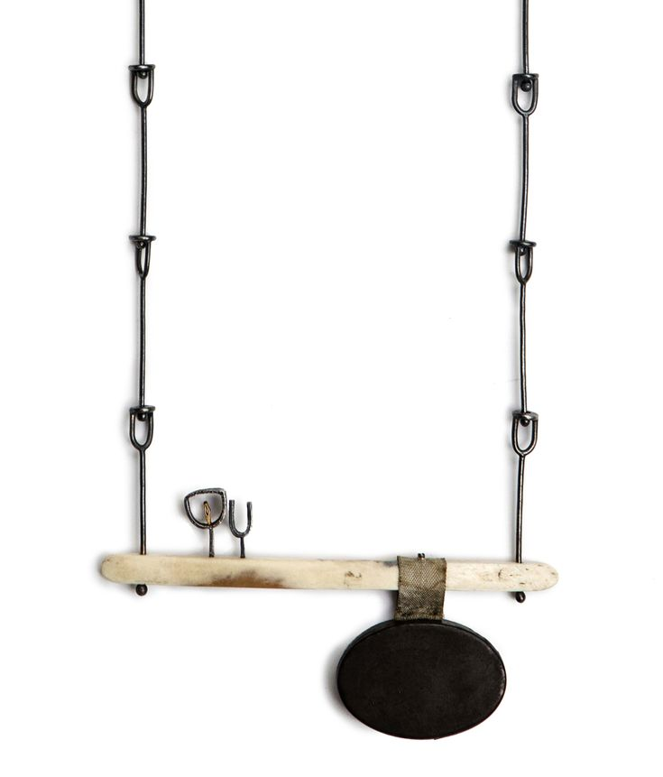 Jo Pond, Intimate tin locket, Repurposed steel tin, repurposed bone page turner, silver, gold plate, ribbon