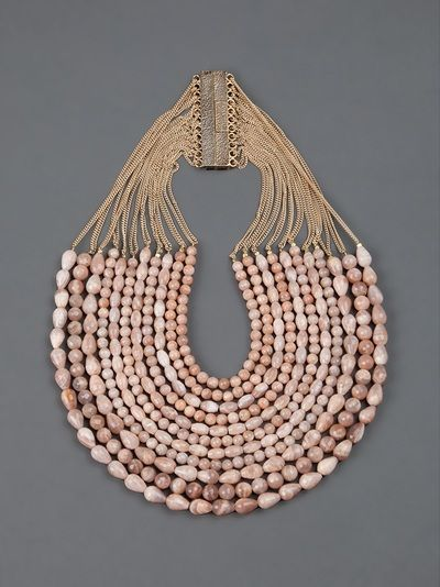 Necklace | Rosantica ~ L'Eclaireur Designs.  Pink sun stone (Eliolite) combined with 24k gold dipped brass chains.: Brilliant Beads, Sea Shells, Beads Neckpiec, Sunston Necklaces, Statement Necklaces, Beads Necklaces, Inspiration Jewelry, Fashion Ornaments, Jewerly Accessories